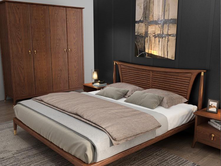 轻奢实木床衣柜组合02