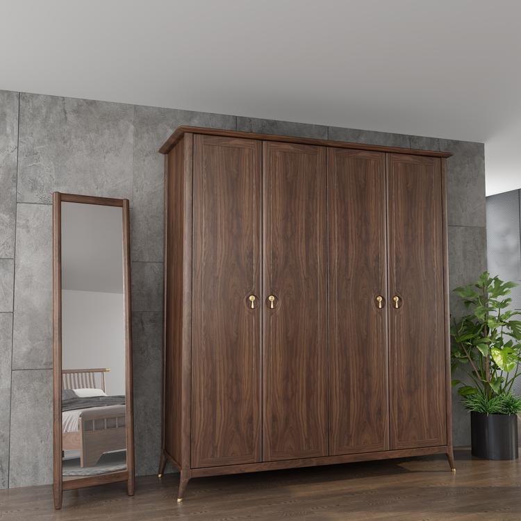轻奢实木衣柜+穿衣镜组合01-1